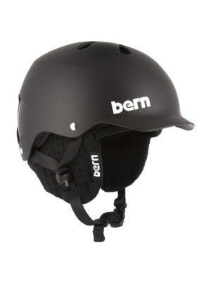 Bern Watts Matte Black Hard Hat Helmet w/Black Knit Liner